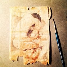 ruby silvious art — 363 days of tea. Day 122. #recycled #teabag #art