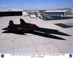 NASA's SR-71A, used for high-speed, high-altitude aeronautical research, is seen here on the ramp outside its main building hangar at the Ames-Dryden Flight Research Facility (later, Dryden Flight Research Center), Edwards, California. NASA operated two of these unique aircraft, an SR-71A and an SR-71B pilot trainer during the decade of the 1990s.