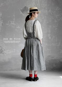 New6/23(fri)10:00 。【送料無料】Joie de Vivre先染めリネン千鳥柄ブレイシーズタックスカート Beautiful Outfits, Cute Outfits, Out Of The Closet, Dress To Impress, Korean Fashion, Creations, Women Wear, Shirt Dress, Couture