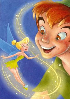 Tinker Bell & Peter Pan....Gray's room is done in Tinkerbell