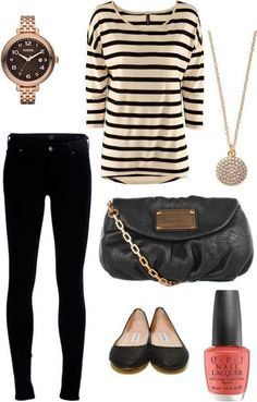 Reminds me of what I used to wear to school all the time, cute top, skinny jeans, and flats.