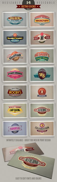 14 Retro Signs or Banners Vol.2 by Peter Olexa, via Behance