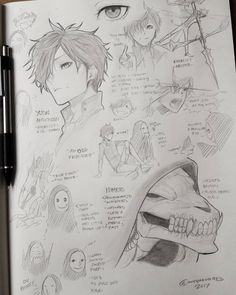 Here's a character sheet of the two charaxters of the previous post. Lol its completely differnet manga about an odd friendship between a demon and exorcist. The main character is an american Japanese exorcist named yudai anderson and his new friend, a demon, is arabian masked entity named nimrud (pronounced nimrood) . His mask changes shape according to his power levels and expression, but its true form is a demonic goat skull with mutliple horns and earings. Yudai is also mysterious, he has a Epic Drawings, Sketchbook Drawings, Drawing Sketches, Mask Drawing, Guy Drawing, Drawing Tips, Character Sheet, Main Character, Design Reference