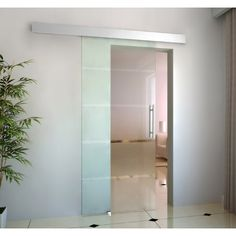 Puerta Corredera 205x102.5cm Puertas Correderas Cristal a Rayas sin obra NUEVO Transparente - E7-0016 - Construcción y Materiales