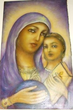 MOTHER OF GOD WITH JESUS Oil on canvas 100/60 Christian painting offered for sale Please, come with price Thank you, God bless you