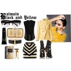 Black And Yellow by vanessaeale on Polyvore featuring mode, Balmain and Zagliani