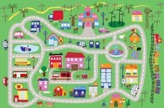 Fun City Play Rug by L. Perfect for his play room City Rugs, Car Play Mats, Country Maps, Colourful Buildings, Our Town, Carpet Runner, Rugs On Carpet, Kids Playing, Good Times