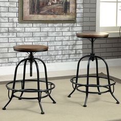 Shop for Furniture of America Daimon Industrial Height Adjustable Counter Height Stool (Set of 2) and more for everyday discount prices at Overstock.com - Your Online Furniture Store!