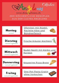 Wöchentliche Menü-Pläne für die Familienküche: Was wollen, was sollen wir im Oktober kochen? Die Frage nach dem Essen stellt sich in Familien täglich. Menüpläne liefern wöchentliche Ideen aus der Cucina Angelone und helfen euch bei der Planung. Gleichzeitig lassen sie euch genügend Freiraum für spontane Ideen. Eine Menüplanung spart viel Zeit und Geld, unterstützt das saisonale Einkaufen und reduziert Foodwaste! #Menüplan #Familienküche #LaCucinaAngelone #DieAngelones Foodblogger, Planer, Happy, Italian Recipes, Italian Cuisine, Kid Cooking, Tips And Tricks, Ser Feliz, Being Happy