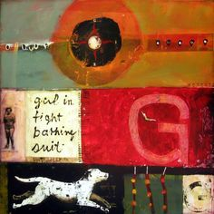 sheila norgate, shown here with running dog, mixed media on canvas, 36x36""
