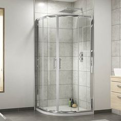 Pacific Offset Quadrant Shower Enclosure with Shower Tray & Waste - Left Hand Option at Victorian Plumbing UK Family Bathroom, Small Bathroom, Master Bathroom, Bathroom Ideas, Bathroom Showers, Shower Ideas, Corner Shower Enclosures, Quadrant Shower Enclosures, How To Clean Chrome