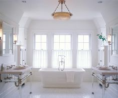 White Bathroom Tile Ideas Wow.... I want to take a bath now in this bathtub.@ http://www.amazon.com/dp/B01C5YDNHK
