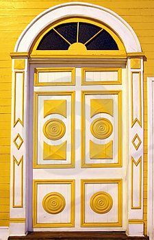 Traditional Carved Door in Taltal, Chile