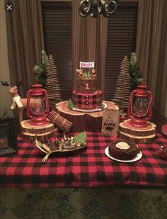 Lumberjack themed birthday party 1st Birthday Boy Gifts, Birthday Party Themes, Birthday Ideas, 2nd Birthday, Lumberjack Wedding, Lumberjack Cake, Lumberjack Birthday Party, Camping Party Decorations, Camping Parties