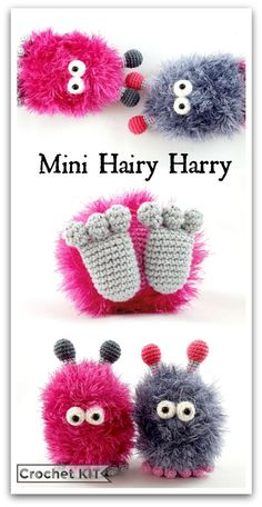 Crochet kit Mini Hairy Harry - Amigurumi toy - DIY kit - This kit gives you all the materials you need to create your own bunny loving hairy monster.