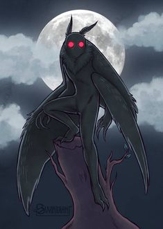 Mothman by suviridian on DeviantArt Spooky Scary, Creepy Art, Arte Horror, Horror Art, Magical Creatures, Fantasy Creatures, Myths & Monsters, Creature Drawings, Mothman