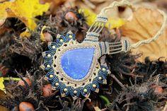 Romantic tribal Lapis lazuli and brass macrame by veronikaindy