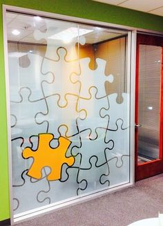 Another example of an Actuarial element combining messaging, artistic elements, and some additional privacy where glass partitions are in place. All with an affordable and attractive window graphic on glass.