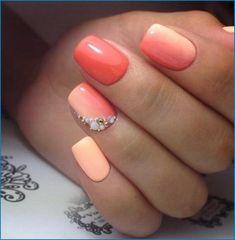 Einfache Palme Nagelkunst jahr 2019-2020 / nagel-kunst Nails Gelish, Peach Nails, Short Square Nails, New Nail Polish, Nagel Gel, Powder Nails, Holiday Nails, Nail Trends, Glitter Nails