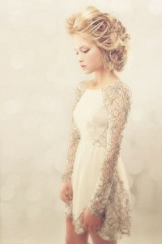ethereal mini ivory lace dress with beautiful lace long sleeve