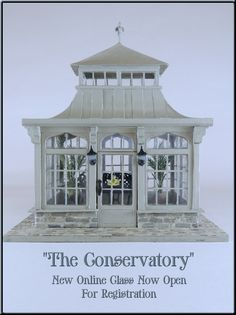 My newest online class project is this darling 1/48 scale conservatory.  For more information visit my website at www.cynthiahoweminiatures.com