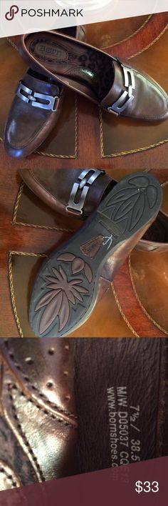 Born leather loafers Slip on loafer in an antique looking brown leather. NWOB. Unworn. Born Shoes Flats & Loafers