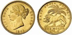 1841 gold coins of India governed by the East India Company