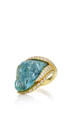 One Of A Kind Aquamarine And Diamond Conch Pearl Ring by Nicholas Varney for Preorder on Moda Operandi