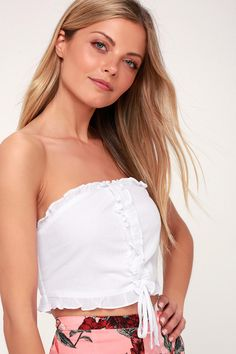 17a52e4501 Lay in the Sun White Ruffled Strapless Cropped Top