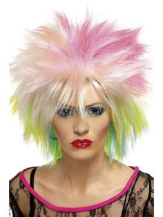 Lime Shock Wig Green 80/'s Spike Punk Fancy Dress Up Halloween Costume Accessory