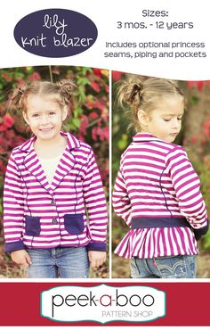 Lily Knit Blazer PDF Sewing Pattern 3 mos - 12 years. Girls, princess seam, pockets, piping