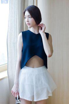 sleeveless crop top blouse from Kakuu Basic. Saved to Kakuu Basic Blouses & Shirts. Seoul Fashion, Korean Street Fashion, Korea Fashion, Kpop Fashion, Fashion Outfits, Ladies Fashion, Womens Fashion, Sleeveless Crop Top, Online Fashion Stores