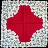 Vintage handkerchief - dogwood on red