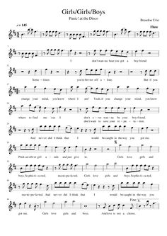 Girls/Girls/Boys by Panic! at the Disco sheet music for flute Girls/Girls/Boys by Panic! at the Disco sheet music for flute Trombone Sheet Music, Trumpet Sheet Music, Saxophone Music, Recorder Music, Piano Sheet Music, Music Sheets, Piano Songs, Cello, Panic At The Disco Lyrics