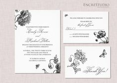 Printable Garden Wedding Invitation - could change the ink to grey