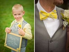 grey and yellow ring bearer with chalkboard sign ~ so cute!