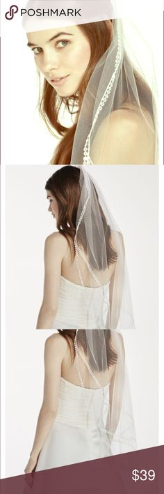 """Bridal veil white Elegantly frame your face with this delicate crochet double edge mid length veil! Mid length veil features delicate crochet edge detailing. Veil is 30"""" long. To care for your veil, hang and steam. Imported. David's Bridal Accessories Hair Accessories"""