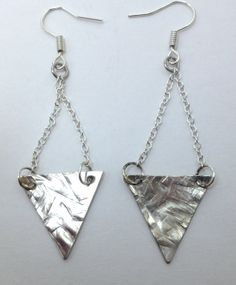 Geometric Hammered Metal Earrings - Triangle Earrings, Long Dangly Earrings, Minimalist Earrings, Silver