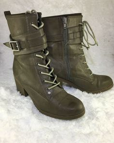 30009c16d3f8 G by Guess Combat Boots Laceup Womes Size 8.5M Light Olive Green  GUESS