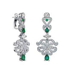 Garrard. Magnificent diamonds and emeralds for a regal pair of earrings #Garrard #London #GarrardHighJewellery