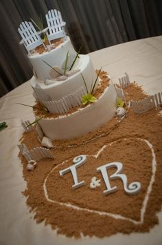 "Beautiful Beach Theme Wedding Cake. Love the initials in the ""sand"" in front of the cake"