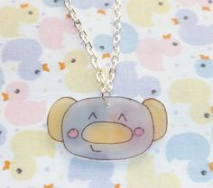 Kawaii Koala Necklace  Yellow and Grey by NiNEFRUiTSPiE on Etsy, £2.50