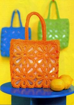 Bright crochet bags - gives me a big idea for something different.