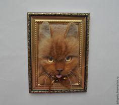 Рыжий кот Макс Панно картина из шерсти - рыжий,золотой цвет,рыжий кот