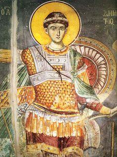 Saint Demetrios, byzantine fresco by Manuel Panselinos. Fresco, Byzantine Art, Byzantine Icons, Greek Icons, Catholic Saints, Thessaloniki, Orthodox Icons, Religious Art, Christianity
