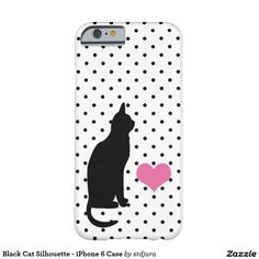 Shop Black Cat on Cute Black and White Polka Dots Case-Mate iPhone Case created by stdjura. Black Cat Silhouette, Iphone 6 Cases, Polka Dots, Black And White, Cats, Pink, Black White, Gatos, Blanco Y Negro