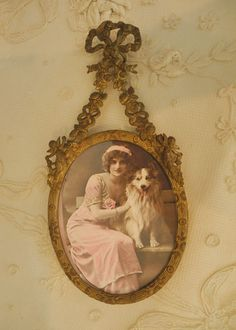 Adorable Vintage Oval Hanging Frame with Barbola Roses, Bow, & Cherubs #Victorian