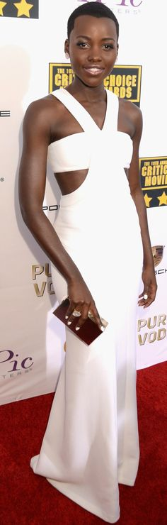 Lupita Nyong'o stunned in this white Calvin Klein Collection cutout dress at the Critics' Choice Awards