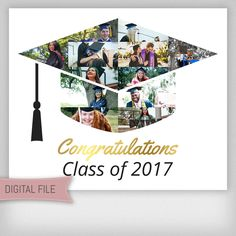 Custom Graduation Photo Collage, Graduation Cap, Graduation Gift For Him, Graduation Gift For Her, Grad Gifts, Grad 2017, Digital File by AlwaysPrintables on Etsy