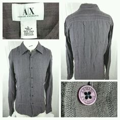 Armani Exchange linen button front shirt size large gray stripes NWT MSRP $78 #AXArmaniExchange #ButtonFront